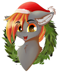 Size: 1008x1200 | Tagged: safe, artist:lunar froxy, oc, oc only, oc:drax, bust, christmas, eye clipping through hair, hat, holiday, looking at you, male, portrait, santa hat, simple background, smiling, solo, stallion, transparent background, wreath