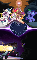 Size: 1610x2620   Tagged: safe, artist:droll3, apple bloom, king sombra, princess cadance, scootaloo, shining armor, spike, sweetie belle, twilight sparkle, pony, umbrum, cover art, crossover, crystal empire, crystal heart, darkness, fighting stance, fire, flag pole, guilty gear, guilty gear xrd, holding hooves, ponified, sin kiske, smoke, sol badguy, stairs