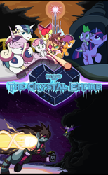 Size: 1610x2620   Tagged: safe, artist:droll3, apple bloom, king sombra, princess cadance, scootaloo, shining armor, spike, sweetie belle, twilight sparkle, pony, umbrum, cover art, crossover, crystal empire, crystal heart, darkness, fighting stance, fire, flag pole, guilty gear, guilty gear xrd, holding hooves, ponified, sin kiske, smoke, sol badguy, stairs, title card