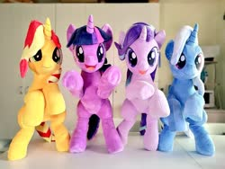Size: 1024x768 | Tagged: safe, artist:nekokevin, starlight glimmer, sunset shimmer, trixie, twilight sparkle, pony, unicorn, series:nekokevin's glimmy, bipedal, female, happy, irl, looking at you, magical quartet, mare, open mouth, photo, plushie, smiling, underhoof, unicorn twilight