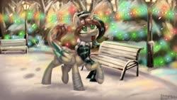 Size: 3000x1688 | Tagged: safe, artist:enderselyatdark, oc, oc only, oc:volera, alicorn, pony, alicorn oc, bench, clothes, cute, scarf, snow, snowfall, streetlight, tongue out, winter