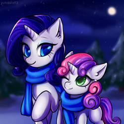 Size: 3000x3000 | Tagged: safe, artist:yutakira92, rarity, sweetie belle, pony, unicorn, clothes, female, filly, mare, night, scarf, siblings, sisters, winter