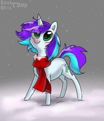 Size: 897x1049 | Tagged: safe, artist:enderselyatdark, oc, oc only, pony, unicorn, chibi, clothes, cute, scarf, snow, snowfall, unicorn oc