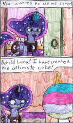Size: 906x1508 | Tagged: safe, artist:eternaljonathan, princess celestia, princess luna, comic:tasty trouble, cake, comic, door, food, ink, levitation, magic, royal sisters, telekinesis, traditional art