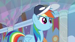 Size: 1920x1080 | Tagged: safe, screencap, rainbow dash, pegasus, pony, 2 4 6 greaaat, spoiler:s09e15, cap, female, hat, mare, smiling, solo