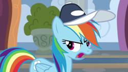 Size: 1920x1080 | Tagged: safe, screencap, rainbow dash, pegasus, pony, 2 4 6 greaaat, spoiler:s09e15, cap, female, hat, mare, open mouth, solo