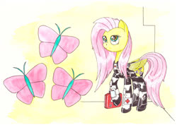 Size: 1280x906   Tagged: safe, artist:zocidem, fluttershy, cyborg, pegasus, pony, augmentation, augmented, crossover, deus ex, drawing, female, solo, technology, traditional art