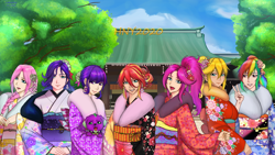 Size: 3840x2160 | Tagged: safe, artist:rittaruzira, applejack, fluttershy, pinkie pie, rainbow dash, rarity, sci-twi, spike, spike the regular dog, sunset shimmer, twilight sparkle, dog, human, equestria girls, alternate hairstyle, anime, anime style, clothes, humane five, humane seven, humane six, humanized, japanese, kimono (clothing), peace sign