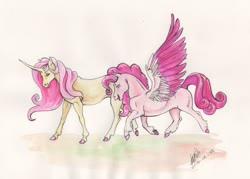 Size: 1024x732 | Tagged: safe, artist:sagastuff94, fluttershy, pinkie pie, pegasus, pony, unicorn, leak, spoiler:g5, cloven hooves, duo, female, fluttershy (g5), g5, mare, pegasus pinkie pie, pinkie pie (g5), race swap, realistic, redesign, unicorn fluttershy, unshorn fetlocks
