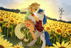 Size: 1200x807 | Tagged: safe, artist:mr-tiaa, applejack, oc, oc:constance everheart, earth pony, pony, apple, bipedal, blushing, canon x oc, crying, everjack, eye contact, female, flower, food, holding a pony, looking at each other, male, mare, plaid, plaid shirt, shipping, stallion, standing up, straight, sunflower, sunset, tears of joy, teary eyes