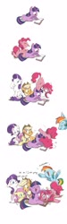 Size: 1229x4096 | Tagged: safe, artist:drtuo4, applejack, fluttershy, pinkie pie, rainbow dash, rarity, twilight sparkle, earth pony, pegasus, pony, unicorn, ..., circling stars, comic, crying, cute, cute little fangs, dialogue, dizzy, fangs, female, floppy ears, laughing, mane six, mare, reading, silly, silly pony, simple background, speech bubble, stars, sweat, sweatdrops, swirly eyes, tears of laughter, teary eyes, tongue out, unicorn twilight, weapons-grade cute, white background