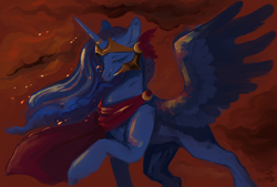 Size: 3790x2557 | Tagged: safe, artist:slimeprnicess, princess luna, alicorn, pony, /mlp/, 4chan, abstract background, armor, athena, cape, clothes, crown, drawthread, female, greek mythology, jewelry, mare, regalia, request, solo, spread wings, wings
