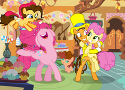 Size: 5280x3816 | Tagged: safe, artist:galaxyswirlsyt, cheese sandwich, li'l cheese, pinkie pie, oc, oc:party pie, oc:sugar high, earth pony, pony, spoiler:s09e26, absurd resolution, baby, baby pony, base used, cheesepie, cupcake, female, filly, food, hat, male, nose in the air, offspring, older, parent:cheese sandwich, parent:pinkie pie, parents:cheesepie, shipping, straight, sugarcube corner, top hat