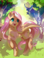 Size: 1785x2345 | Tagged: safe, artist:my-magic-dream, fluttershy, bird, pegasus, pony, cute, dappled sunlight, female, looking at something, looking up, mare, open mouth, outdoors, raised hoof, raised leg, shyabetes, smiling, solo, spread wings, tree, wings