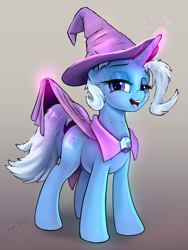 Size: 3652x4869 | Tagged: safe, alternate version, artist:xbi, trixie, pony, unicorn, cape, clothes, female, gradient background, great and powerful, hat, levitation, looking at you, magic, magic aura, mare, presenting, presenting tail, solo, tail, telekinesis, trixie's cape, trixie's hat