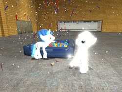 Size: 1024x768 | Tagged: safe, artist:horsesplease, double diamond, party favor, earth pony, pony, unicorn, 3d, annoyed, ball pit, barking, catasterism, confetti, dashcon, doggie favor, glow, gmod, stars, upset
