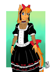 Size: 724x1024 | Tagged: safe, artist:zwitterkitsune, oc, oc:cold front, anthro, bow, choker, clothes, commission, crossdressing, dress, gothic lolita, headband, looking at you, tailband
