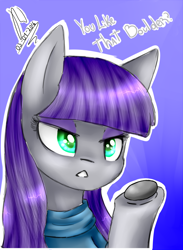 Size: 1920x2620   Tagged: safe, artist:drawcraft123, boulder (pet), maud pie, earth pony, pony, blue background, bust, dialogue, female, mare, open mouth, portrait, raised hoof, simple background, solo