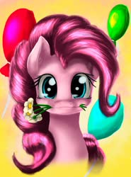 Size: 1024x1383 | Tagged: safe, artist:ninatvpk, pinkie pie, pony, balloon, bust, cute, diapinkes, female, flower, flower in mouth, looking at you, mare, mouth hold, portrait, simple background, smiling, solo, yellow background