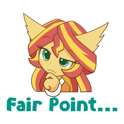 Size: 1000x1000 | Tagged: safe, artist:howxu, sunset shimmer, anthro, ambiguous facial structure, bust, caption, cute, ear fluff, emoji, female, portrait, reaction image, shimmerbetes, simple background, solo, transparent background