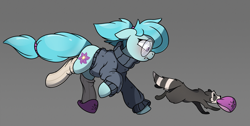 Size: 3292x1662 | Tagged: safe, artist:rexyseven, oc, oc only, oc:whispy slippers, earth pony, pony, raccoon, blushing, clothes, female, glasses, gray background, mare, mouth hold, running, simple background, slippers, socks, sweater