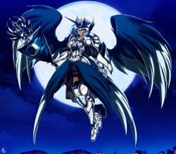 Size: 4150x3642   Tagged: safe, alternate version, artist:mauroz, princess luna, human, armor, cloud, female, flag, full moon, high res, horn, horned humanization, humanized, moon, night, sky, solo, winged humanization, wings