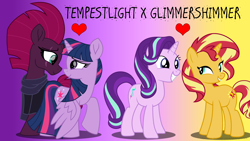 Size: 3840x2160 | Tagged: safe, artist:ejlightning007arts, starlight glimmer, sunset shimmer, tempest shadow, twilight sparkle, alicorn, female, group, heart, lesbian, shimmerglimmer, shipping, tempestlight, twilight sparkle (alicorn), wallpaper