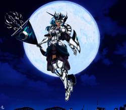 Size: 4150x3642   Tagged: safe, alternate version, artist:mauroz, princess luna, human, armor, cloud, female, flag, full moon, gauntlet, high res, humanized, moon, night, sky, solo
