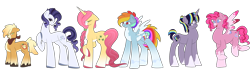 Size: 1280x361 | Tagged: safe, artist:oxclovia, applejack, fluttershy, pinkie pie, rainbow dash, rarity, twilight sparkle, earth pony, pegasus, pony, unicorn, applejack (g5), colored wings, colored wingtips, earth pony rarity, female, fluttershy (g5), g5, g5 concept leak style, hooves, jewelry, mane six, mane six (g5), mare, pegasus pinkie pie, pinkie pie (g5), race swap, rainbow dash (g5), rarity (g5), redesign, simple background, transparent background, twilight sparkle (g5), unicorn fluttershy, unicorn twilight, wings