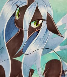 Size: 1799x2048 | Tagged: safe, artist:025aki, queen chrysalis, changeling, changeling queen, blushing, female, looking at you, solo, traditional art
