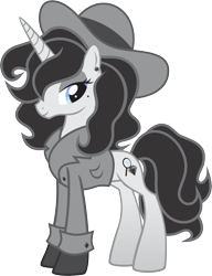 Size: 1815x2358 | Tagged: safe, artist:inkandmystery, oc, oc only, oc:classic noir, pony, unicorn, beauty mark, clothes, coat, ear piercing, earring, eyeshadow, female, gloves, hat, jewelry, makeup, mare, piercing, simple background, solo, transparent background