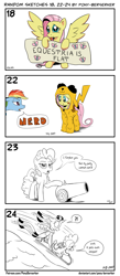 Size: 1320x3035 | Tagged: safe, artist:pony-berserker, fluttershy, pinkie pie, rainbow dash, spike, twilight sparkle, alicorn, dragon, earth pony, pegasus, pikachu, pony, clothes, comic, costume, exclamation point, flat earth, footed sleeper, i can't believe it's not idw, interrobang, kigurumi, onesie, pajamas, party cannon, pinkie pie is not amused, pokémon, question mark, scarf, sled, sledding, twilight sparkle (alicorn), unamused, winged spike