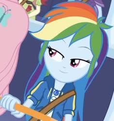 Size: 532x566   Tagged: safe, screencap, rainbow dash, equestria girls, rollercoaster of friendship, spoiler:eqg series, cropped, geode of super speed, magical geodes, solo focus