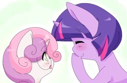 Size: 1024x673 | Tagged: safe, artist:luxjii, sweetie belle, twilight sparkle, pony, unicorn, accessory swap, alternate hairstyle, ask nerdy twilight, blushing, bust, cute, diasweetes, duo, eyes closed, friendshipping, glasses, open mouth, portrait, profile, twiabetes