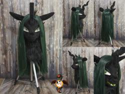 Size: 1328x1000   Tagged: safe, artist:essorille, queen chrysalis, changeling, fursuit, fursuit head, irl, photo, solo