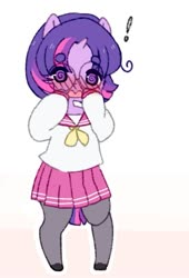 Size: 563x829 | Tagged: safe, artist:luxjii, twilight sparkle, semi-anthro, ask nerdy twilight, beanbrows, blushing, clothes, cute, exclamation point, eyebrows, female, glasses, open mouth, pleated skirt, sailor uniform, school uniform, skirt, solo, swirly eyes, twiabetes, uniform