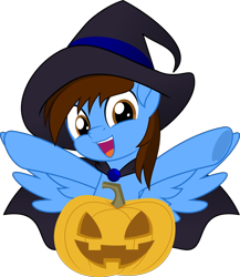 Size: 832x960   Tagged: safe, artist:jhayarr23, oc, oc:pegasusgamer, pegasus, bust, cape, clothes, halloween, happy, hat, holiday, looking at you, palindrome get, part of a set, pegasus oc, pumpkin, simple background, smiling, transparent background, wings, ych result