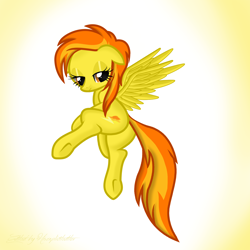 Size: 2000x2000 | Tagged: safe, artist:reduxdrawer8k, spitfire, pegasus, pony, adorasexy, alternate hairstyle, bedroom eyes, cute, cutefire, female, floppy ears, high res, mare, sexy, solo, spread wings, stupid sexy spitfire, wings