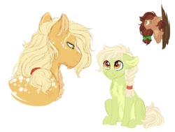 Size: 1024x775 | Tagged: safe, artist:azure-art-wave, applejack, oc, oc:arizona, oc:dandelion, earth pony, pony, female, filly, offspring, parent:applejack, parent:troubleshoes clyde, parents:troublejack, simple background, white background