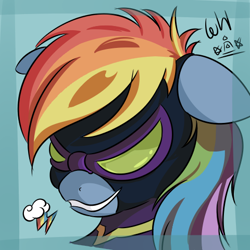 Size: 480x480 | Tagged: safe, artist:walthooves, rainbow dash, pegasus, pony, bust, clothes, costume, female, floppy ears, goggles, mare, nightmare night costume, portrait, shadowbolt dash, shadowbolts, shadowbolts costume, smiling, solo