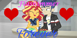 Size: 3224x1628 | Tagged: safe, edit, edited screencap, screencap, flash sentry, sunset shimmer, equestria girls, good vibes, spoiler:eqg summertime shorts, female, flashimmer, male, shipping, straight