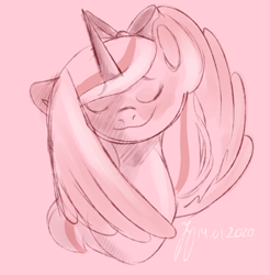 Size: 1062x1080 | Tagged: safe, artist:jenstercreations, oc, oc:fleurbelle, alicorn, adorable face, alicorn oc, bow, covering, cute, eyes closed, female, hair bow, mare, pink background, simple background, smiling, wing covering