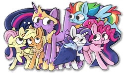 Size: 1200x705 | Tagged: safe, artist:nootnuts, applejack, fluttershy, pinkie pie, rainbow dash, rarity, twilight sparkle, alicorn, earth pony, pegasus, pony, unicorn, the last problem, spoiler:s09e26, crown, end of ponies, female, jewelry, mane six, mare, older, older applejack, older fluttershy, older mane 6, older pinkie pie, older rainbow dash, older rarity, older twilight, one eye closed, open mouth, princess twilight 2.0, regalia, simple background, transparent background, twilight sparkle (alicorn), wink