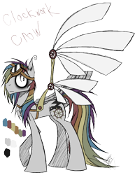 Size: 888x1150 | Tagged: safe, artist:didun850, oc, oc only, oc:clockwork crow, earth pony, pony, artificial wings, augmented, bags under eyes, goggles, mechanical wing, multicolored hair, rainbow hair, reference sheet, signature, simple background, transparent background, wings