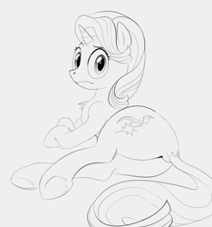 Size: 823x880 | Tagged: safe, artist:dotkwa, starlight glimmer, pony, unicorn, /mlp/, butt, dock, female, glimmer glutes, looking at you, looking back, lying down, mare, monochrome, plot, side, solo