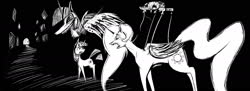 Size: 1980x720 | Tagged: safe, anonymous artist, princess celestia, twilight sparkle, alicorn, pony, unicorn, abstract, black and white, dark, female, grayscale, mare, marionette, monochrome, puppet strings, scared, teeth, twilight sparkle (alicorn), unicorn twilight