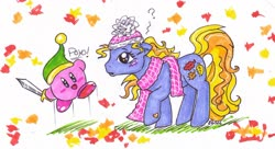Size: 2776x1507 | Tagged: safe, artist:muffinponygirl, autumn skye, earth pony, pony, crossover, g3, kirby, kirby (character), traditional art