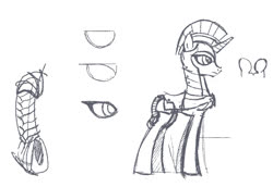 Size: 700x481   Tagged: safe, artist:tswt, pony, unicorn, armor, black and white, braided tail, character study, female, grayscale, guardsmare, mare, monochrome, royal guard, simple background, sketch, solo, study, tail, white background