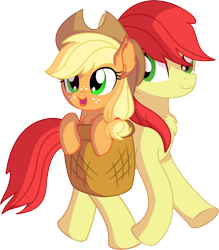 Size: 6766x7724 | Tagged: safe, artist:cyanlightning, applejack, bright mac, earth pony, pony, .svg available, absurd resolution, chest fluff, cute, duo, ear fluff, father and child, father and daughter, female, filly, filly applejack, jackabetes, male, simple background, smiling, stallion, transparent background, vector, younger