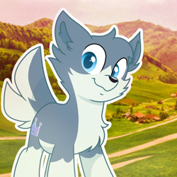 Size: 1150x1150 | Tagged: safe, artist:rainbow eevee, oc, oc only, oc:flow, pony, wolf, wolf pony, aesthetic, cheek fluff, chest fluff, field, grass, grass field, houses, icon, irl, meadow, mountain, photo, solo, switzerland